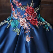 Blue Satin Embroidery Sleeveless Strapless Ball Gown Wedding Dress