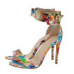 fashion high heels sexy printing sandals for woman wedding party pu shoes fish mouth plus size