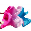 1 Pair Dance Fans Bamboo Ribs Natural Silk Stage Performance Props Dye Fans Women Belly Dance Silk Fans Rose+Pink+Turquoise