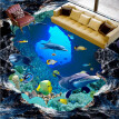 Free Shipping Underwater world 3D floor wallpaper bathroom hotel decoration waterproof wear floor mural 250cmx200cm