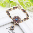 Hot Vintage Flower Drop Pendant Bracelet Turkish Women Jewelry Resin Retro Gold Color Ethnic Bracelets Arabian Bijoux Gift