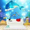 Custom 3D Photo Wallpaper High-end Wall Mural Non-woven Cartoon Underwater Whale For Kids Bedding Room Sofa Wall Mural Wallpaper