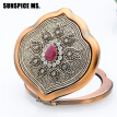 Exquisite Turkish Women Retro resin Flowers Metal Portable Makeup Mirror Vintage Cosmetic Mirror Antique Gold Color Body Jewelry