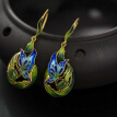 925 Silver Jewelry Earrings Cloisonne Gold Plated Butterfly Design Jasper Emerald Sterling Silver Earrings