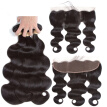 Brazilian Human Hair Bundles with Frontal Body Wave Hair 3 Bundles With 13x4 Lace Frontal 100% Unprocessed Human Hair Extensions