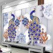 Custom Mural Wallpaper European Style Blue Peacock Jewelry Flower Luxury Wall Paper Living Room TV Sofa Backdrop Papel Mural 3 D