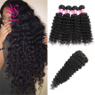 YS HAIR Deep Wave Brazilian Virgin Hair 4 Bundles with Free Part Lace Closure Unprocessed Human Hair Black Color