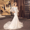 Tiered Lace Illusion 1/2 Sleeves Applique Ruched White Mermaid Fishtail Wedding Dress