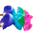 1 Pair Dance Fans Bamboo Ribs Natural Silk Stage Performance Props Dye Fans Belly Dance Silk Fans Royal Blue+Turquoise+Green+Rose