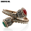 SUNSPICE MS. Vintage Charm Bangles For Women Antique Gold Red Resin Lily Flower Bracelet Full Crystals Turkish Bijuteria Jewelry