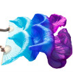 1 Pair Dance Fans Bamboo Ribs Natural  Silk Stage Performance Props Dye Fans  Belly Dance Silk Fans Turquoise+Royal Blue+Purple