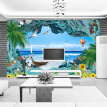 Custom 3D Photo Wallpaper Coral Reef Stereoscopic Ocean Landscape 3D Room TV Background Mediterranean Sea View Mural Wall Paper