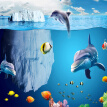 3D Cartoon Shark Fish Underwater Photo Mural Wallpaper Kids Bedroom Living Room Non-Woven Wall Paper Papel De Parede 3D Paisagem