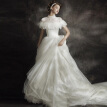 2018 Spring High Neck Sheer Neck Sweep Train Tiers Lace Ball Gown Wedding Bridal
