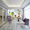 Custom Mural Wallpaper Modern Abstract Art 3D Stereoscopic White Circle Fruits Large Wall Painting Restaurant Kitchen Wallpaper