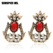 SUNSPICE MS Ethnic Resin Flower Stud Earring For Women Festival Jewelry Antique Gold Color Indian Bohemia Bridal Vintage Earring
