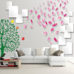 Custom Any Size 3D Photo Wallpaper Rose Petal Tree Brick Wall Paper Painting Modern 3D Living Room TV Background Wall Art Mural