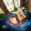 Free Shipping custom 3D flooring paste Beautiful Star Earth waterproof thicken floor wallpaper mural 250cmx200cm