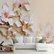 3D Wallpaper HD Embossed Magnolia Flowers Photo Mural Living Room Home Decor Wallpaper Modern Abstract Papel De Parede Floral 3D