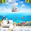 Custom Photo Wallpaper Sailing Dolphin 3D Underwater World Cartoon Picture Living Room Children Bedroom Decoration Wall Mural