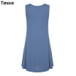 Timeson New Summer T-Shirt Dress Sleeveless Knitted Tunic Dress with Pockets Big Hem Female Stretch Mini Solid Plus Size Dresse