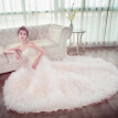 Light Champagne Tiers Hand Made Flower Applique Ball Gown Wedding Dress