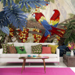 Hand Painted wallpaper parrot leaves modern living room study decorative painting bedroom backdrop wall mural