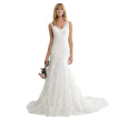 Simple Pure White Lace Button Covered Summer Spaghetti Mermaid Wedding Dress