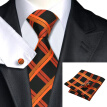 N-0344 Vogue Men Silk Tie Set Orange Plaid Necktie Handkerchief Cufflinks Set Ties For Men Formal Wedding Business wholesale