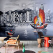 Abstract European metropolitan town night landscape oil painting TV backdrop wall decoration wallpaper mural
