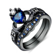 CZ Diamond Rings Blue Crystal love Heart Cubic Zirconia Crown Wedding Ring Sets Black Gold Plated Fashion Jewelry DD015