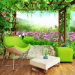 Custom Mural Wallpaper Grape Trellis Butterfly Flowers Pastoral Scenery Living Room Sofa Bedroom Backdrop Wall Paper Mural 3D