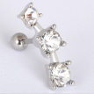 3PCS Men and women Stainless steel 3 Drill Ear nails Expanded piercing Ear Studs Body Clavicle Earrings Nail Jewelry