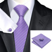 N-0313 Vogue Men Silk Tie Set Purple Stripe Necktie Handkerchief Cufflinks Set Ties For Men Formal Wedding Business whol