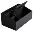 YoujialiangpinMulti-purpose storage box leather tissue box remote control storage box living room tray home black sheepskin pattern large