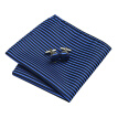N-0404 Vogue Men Silk Tie Set Blue Stripe Necktie Handkerchief Cufflinks Set Ties For Men Formal Wedding Business wholesale