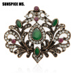 Fashion Turkish Women Hijab Brooch Antique Gold Color Hollow Flower Resin Corsage Jewelry Indian Bohemia Ethnic Wedding Bijoux
