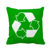 Recycle Green Square Warning Mark Square Throw Pillow Insert Cushion Cover Home Sofa Decor Gift