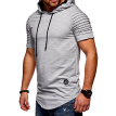 Summer Men's Casual Tops Fashion Short Sleeved T-shirt Solild Color Fold Round Neck Hooded Pullovers Clothes Men's T-shirt