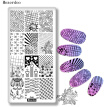Rose flower leaf Rectangle Nail Stamping Plates Template line grid fist Design Manicure Nail Art Stamp Image Plate Mezerdoo C46