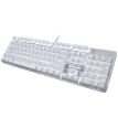 Sades Monochrome Backlit Metal Gaming Mechanical Keyboard Computer USB Home Peripheral Wrangler Style Wired Chicken Keyboard (White White Light Green Axis)