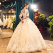 Palace Princess Plus Size Illusion Bodice Tiers Floor Length Ball Gown Wedding Dress