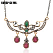 Simple Style Vintage Turkish Women Flower Pendant Necklaces Antique Gold Color Water Drop Resin Indian Wedding Bridal Jewelry
