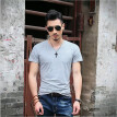 Men V-neck Summer Short Sleeve T Shirt