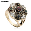 Fashion Turkish Women Round Flower Vintage Rings Antique Gold Color Hollow Resin Jewelry Indian Bridal Wedding Ethnic Bijoux