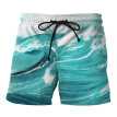 Summer men's new European code pants creative wave printing 3D beach pants fashion casual large size swim trunks