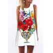 3D Women Brief Dress Print Floral Sleeveless Summer Dress Casual Loose Off-Shoulder Mini Short 3D Beach Dresses