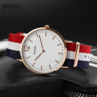 Time beauty skmei watches men and women ultra-thin series fashion simple quartz student watch blue red blue nylon belt