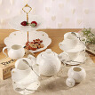 Ceramics Tea Cup With Carving Porcelain Saucer Coffee Cup Set
