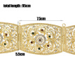 Fashion Hollow Flower Rhinestone Metal Waist Chain Body Jewelry Sets Gold-Color Turkish Bohemia Square Button Belt Belly Chain